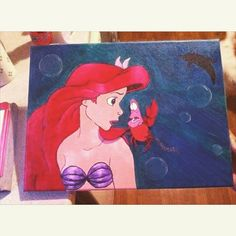The Little Mermaid canvas I painted for a little girl.  #thelittlemermaid #ariel #sebastien #disney #canvas #acrylics #paints #art #underthesea #mermaid #dream #water #sea #fish #redhair #crab #finallyfinished #awesome #blue #swimming #tail #green #bubbles #underwater #drawing #TheBest