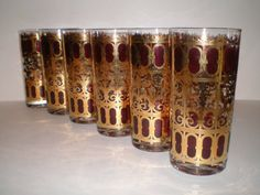 6 Culver Cranberry Scroll Tumblers Highball 22 by PJsParadise, $48.00