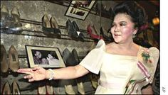 """Imelda Marcos shows shoes she wore while first lady. The world's best-known shoe collector & former Philippine First Lady Imelda Marcos, opened a museum of her own footwear. """"Filipinos don't wallow in misery... They recycle bad into things of beauty"""" -  Imelda Marcos. The Marikina City Footwear Museum in Manila contains hundreds of pairs of shoes , many of them found in the presidential palace when Imelda and her husband, President Ferdinand Marcos, fled the Philippines in 1986"""