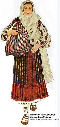 Traditional Romanian Folk Costume from Southern Romania, region of Muntenia, Prahova county.  Costum romanesc popular din Prahova, Muntenia.