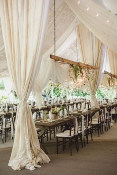 Hanging White Lace Linen Wedding Reception Decor |  by Hannah Woodard Photography