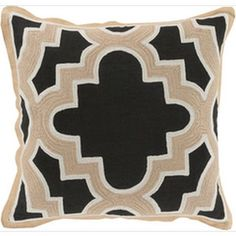 Modern Maze Black and Beige 18-Inch Pillow with Poly Fill