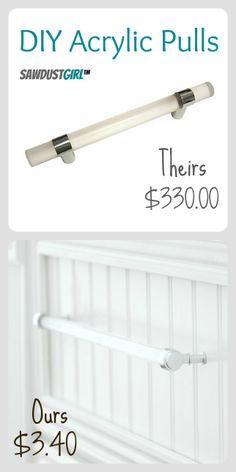 DIY acrylic pull $3.40 vs $330.00 @Sandra Pendle Powell {Sawdust Girl}