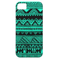 Vibrant abstract tribal design inspired by Aztec and African geometric decorative patterns and features stripes, triangles, squares, diamonds, zigzag and chevron patterns with a simple, turquoise and black color scheme. Original hand-drawn design - fun, stylish, trendy protection for your iPhone and a perfect gift for Her.