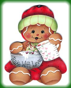 Bake With Love Gingerbread Girl Painting by GingerbreadCuties