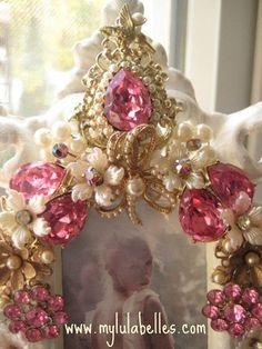 Vintage pink jeweled frame