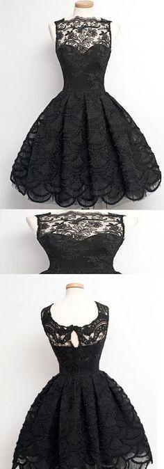 Black lace dress with full skirt, scalloped hemline Junior Dresses, Cute Dresses, Vintage Dresses, Short Dresses, Formal Dresses, Lady Like, Lace Dress, Dress Up, Lace Homecoming Dresses