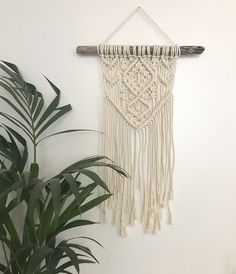 Macrame Wall Hanging Wall hanging suspension in macrame Macrame Rings, Macrame Art, Macrame Projects, Art Macramé, Weaving For Kids, Deco Boheme, Textile Fiber Art, Macrame Tutorial, Boho Diy