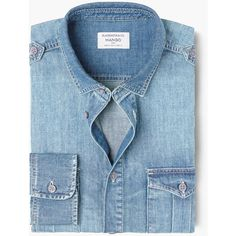 Regular-Fit Chest-Pocket Denim Shirt ($20) ❤ liked on Polyvore featuring men's fashion, men's clothing, men's shirts, men's casual shirts, men, men's wear, shirts, tops, men's regular fit shirts and mens long sleeve collared shirts