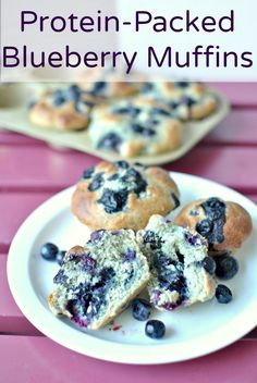 Protein Packed Blueberry Muffins add the protein power of greek yogurt and almond flour to the typical recipe. The result is moist, tasty and healthy muffin that will keep your appetite in check thanks to the added protein. by Becky's Best Bites