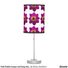 Pink Dahlia Lamps and lamp shades