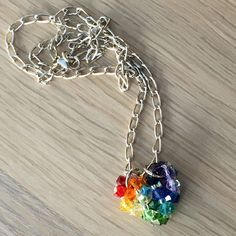 Rainbow Swarovski heart pendant sterling silver curb chain