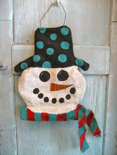 Frosty Burlap Door Hanging by gypsyowlshoppe on Etsy, $50.00
