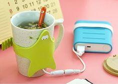 Flee Mug Warmer Starfish Shaped with USB Port Desktop Heated Cooffee Tea for Home and Office (Blue)