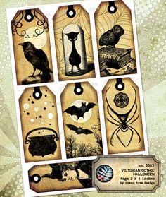 Spooky vintage print mason jar halloween tags for Bookmark creator jar
