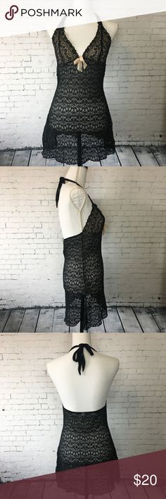 "Blush and Black Lace Halter Slip Sexy and chic lace halter slip. Get cozy and comfy in this lightweight sheer slip. Nylon and Spandex. Size S. Approx 28"" long from shoulder to hem. Gilligan & O'Malley Intimates & Sleepwear Chemises & Slips"