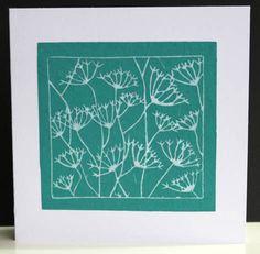 Seed-heads lino-cut greetings card. £2.00, via Etsy.
