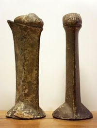 some Chopines - from the 1400's in Italy - the higher the shoe, the higher your social status
