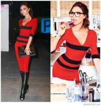 Victoria Beckham Style Stealer V-Neck Stripe Fitted Dress (Red) *Ships Free + Points*