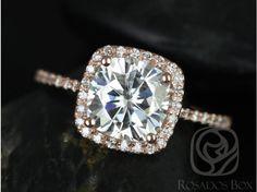 Rosados Box Catalina 7.5mm 14kt Rose Gold Cushion FB Moissanite and Diamond Halo Engagement Ring