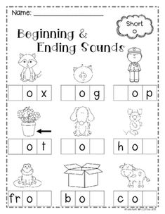 beginning middle end sounds kindergarten worksheets 1st Grade Worksheets, Phonics Worksheets, Printable Worksheets, English Phonics, Reading Comprehension Worksheets, Letter Sounds, Student Teaching, Kindergarten Worksheets, Kids Learning