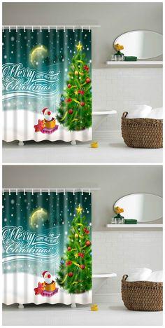 Bathroom Waterproof Merry Christmas Pattern Shower Curtain