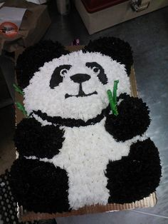 Panda Sculptured and decorated. Panda. All cake scuptred and iced to resemble panda bear
