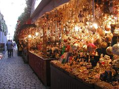 Nuremberg Christmas Market booths.  They are beautiful...no artificial greens allowed, no garish lights or decorations, no recorded music...everything is top quality!