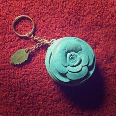 Real rose coin purse keychain Teal leather Accessories