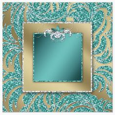 teal & gold glitter with inside frame and diamond center bow - uploaded by Lynn White