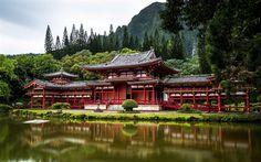 Lataa kuva Kiina, temppeli, lake, kesällä, Aasiassa