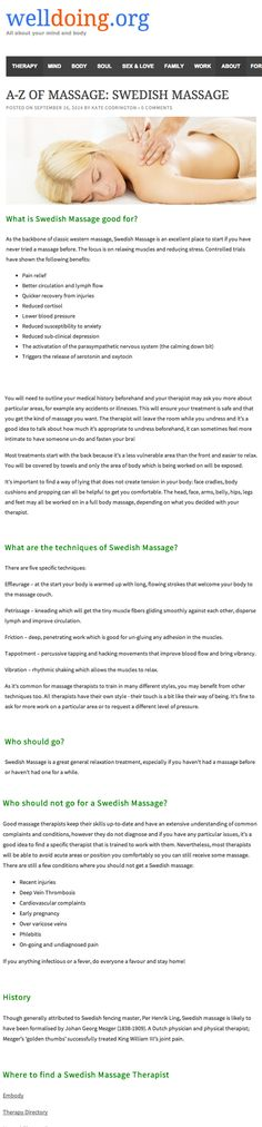 Ever wondered what Swedish Massage actually is? Find out if it's the treatment for you in my A-Z of massage, originally published on WellDoing.org