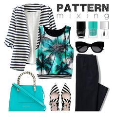 """""""Pattern mixing"""" by artia2 ❤ liked on Polyvore featuring WithChic, Lands' End, Miu Miu, Bulgari, Nails Inc., Karen Walker, Lipsy and patternmixing"""