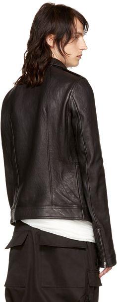 Rick Owens - Black Leather Stooges Bomber Jacket