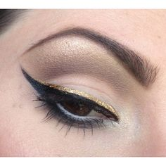 Gold Eyeliner Looks For Spring 2014 | Mehron Makeup News ❤ liked on Polyvore featuring beauty products, makeup, eye makeup, mehron, mehron cosmetics and mehron makeup