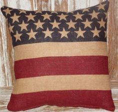 Americana Burlap Pillow - Simply Country