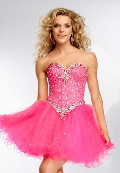 Light-Pink Sweetheart Neckline Rhinestoned Sweet-Sixteen Short ...