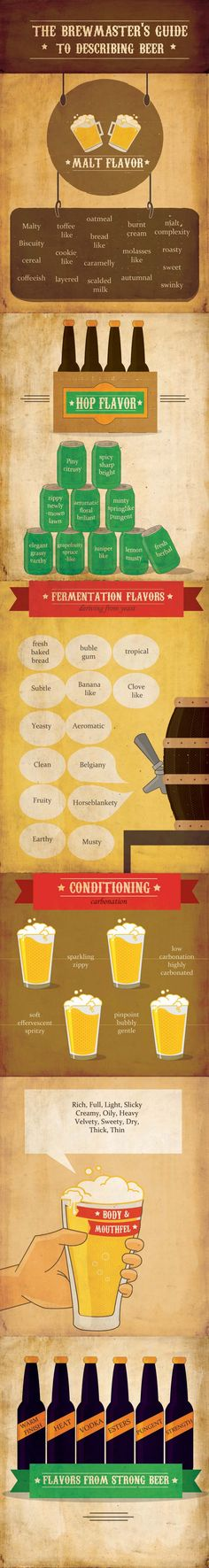 Beer Guide: Flavor Descriptions #flavor #beer #infografic