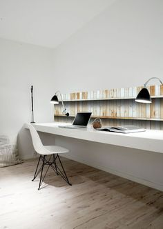 oh to be that tidy in a home office workspace white, floorboards, open shelves