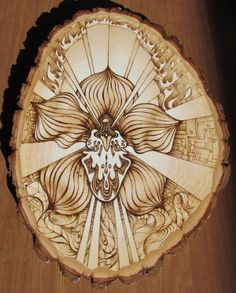 """ORCHID - Pyrography Art on 10.5"""" x 13"""" Basswood Round"""