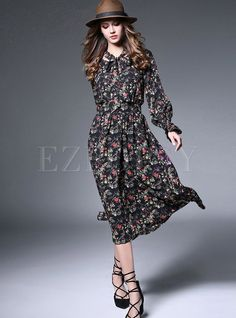 Shop for high quality Fashion Print A-line Chiffon Maxi Dress online at cheap prices and discover fashion at Ezpopsy.com