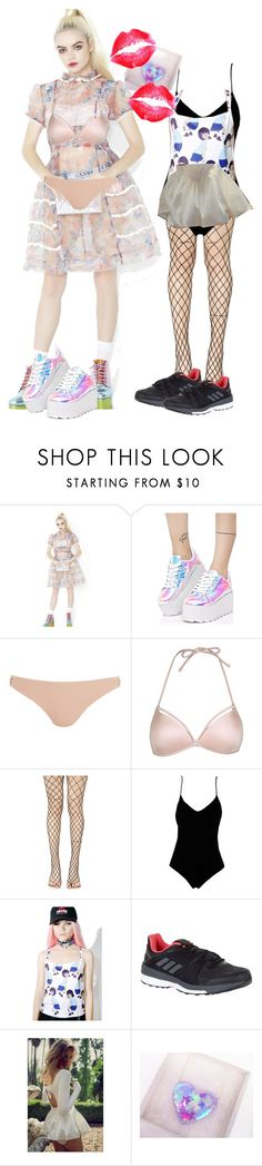 """hard summer ideas"" by lee-ah ❤ liked on Polyvore featuring Y.R.U., Topshop, Leg Avenue, .mcma., Happy Monday and adidas"