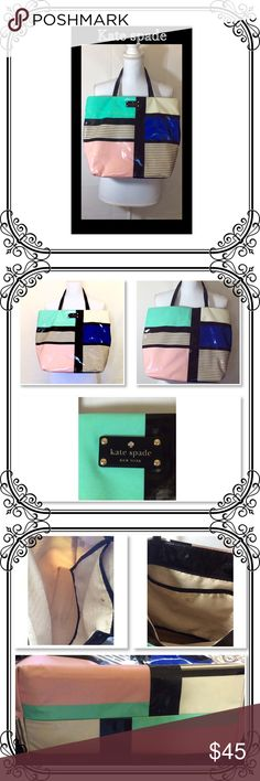 Tote Bag by Kate spade used condition authentic bag// light wear // clean inside // green and pink color blocks, have a stained by rain water, needs a cleaning // Please see last picture to see the wear on this purse. Plenty of life left! Thank you kate spade Bags Totes