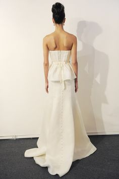 Eve of Miladay - Spring Bridal 2014  TAGS:Floor-length, Pleats, Strapless, Train, White, Eve of Milady, Satin, Silk, Elegant