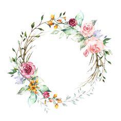 H804 (40) Frame Floral, Flower Frame, Flower Art, Wreath Watercolor, Watercolor Flowers, Watercolor Art, Instagram Frame, Floral Border, Body Art