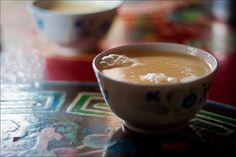 Butter tea (Tibet). 'Butter tea, also known as po cha, is a drink of the Tibetans and Chinese minorities in southwestern China. It is also consumed in Bhutan. It is made from tea leaves, yak butter, and salt.' http://www.lonelyplanet.com/china/tibet