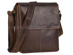 DETHLOFF - Leder Umhängetasche Herrentasche Schultertasche Postbag Hochformat - dunkelbraun