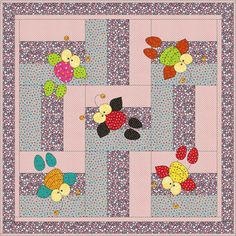 DoodleBug is an easy applique and pieced baby quilt. Finished size, 50 by 50 but can easily be increased or decreased by adding more blocks or