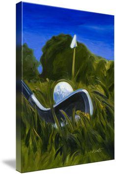 """""""Keating Golf Iron Approach Shot to Flag Print"""" by Warren Keating Golf Painting, Sports Painting, Oil On Canvas, Canvas Art, Acrylic Canvas, Acrylic Paintings, Painted Canvas, Canvas Ideas, Golf Ball Crafts"""