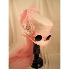 Steampunk White Riding Hat with Pink Goggles and Gears with Pink Netting. White regular size riding hat with Pink lace. Steampunk Mode, Steampunk Couture, Steampunk Hat, Steampunk Design, Steampunk Wedding, Steampunk Fashion, Steampunk Artwork, Lady Like, Victorian Hats